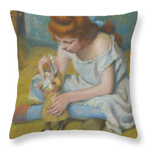 Federico Zandomeneghi Throw Pillow featuring the painting Young Girl Playing With A Doll by Federico Zandomeneghi