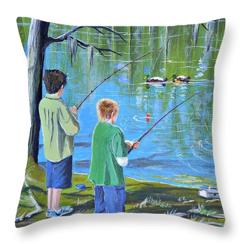 Fishing Throw Pillow featuring the painting Young Lads Fishing by Bill Holkham