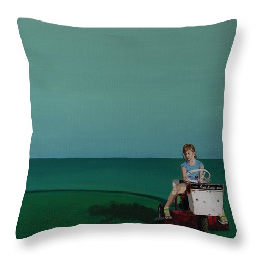 Landscape Throw Pillow featuring the painting Young Lady Mowing by Kyle Richardson