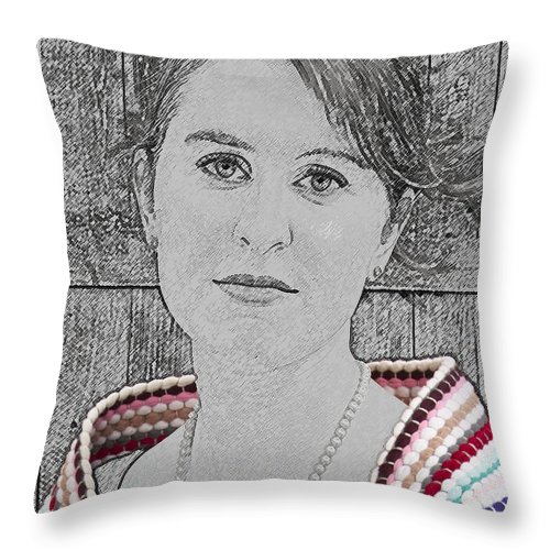 Young Throw Pillow featuring the photograph Young Lady With Multicolored Shawl by Paul Cannon
