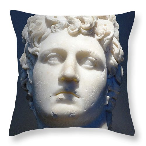 Marble Portrait Throw Pillow featuring the photograph Young Man by Andonis Katanos