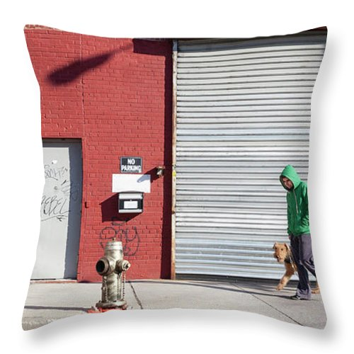 Pets Throw Pillow featuring the photograph Young Man Walks Dog by Alex Potemkin