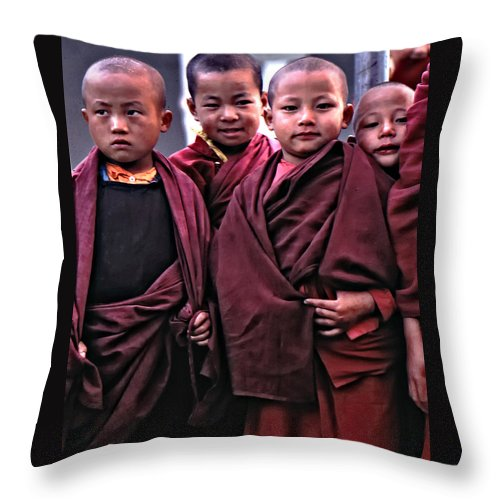 Buddhism Throw Pillow featuring the photograph Young Monks II by Steve Harrington