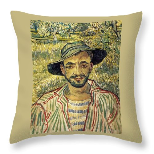 1889 Throw Pillow featuring the painting Young Peasant by Vincent van Gogh