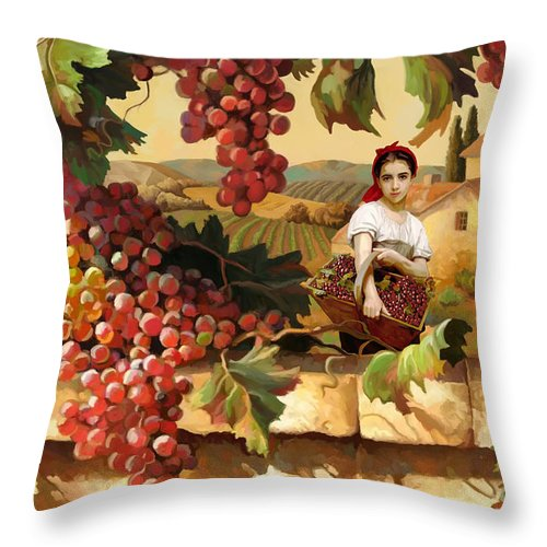 Young Tuscan Girl Grape Vineyard Throw Pillow For Sale By Tim Gilliland