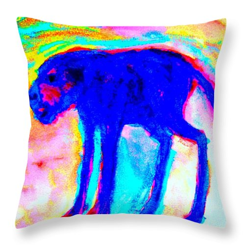 Troll Throw Pillow featuring the painting When Your Inner Dog Is Feeling Blue by Hilde Widerberg