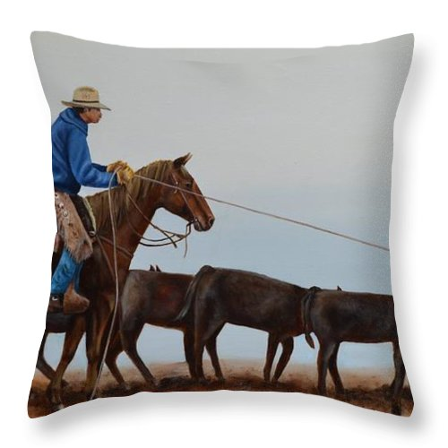 Art Throw Pillow featuring the painting You're Next by Mary Rogers