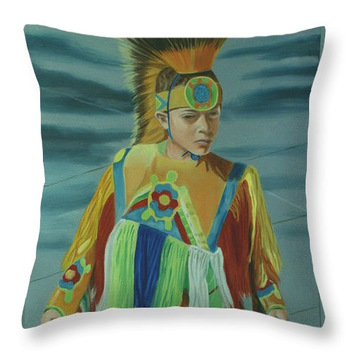 Native American Throw Pillow featuring the painting Youth by Jill Ciccone Pike