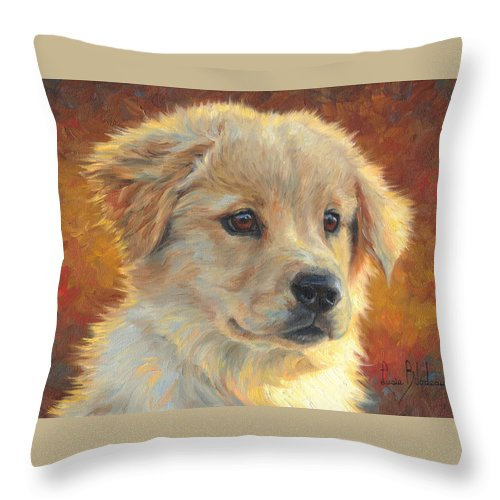 Dog Throw Pillow featuring the painting Youth by Lucie Bilodeau
