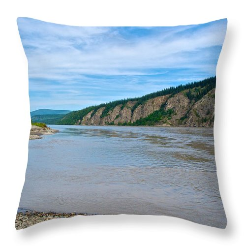 Yukon River As It Heads Northeast To The Arctic Circle Throw Pillow featuring the photograph Yukon River As It Heads Northeast To The Arctic Circle-yt by Ruth Hager