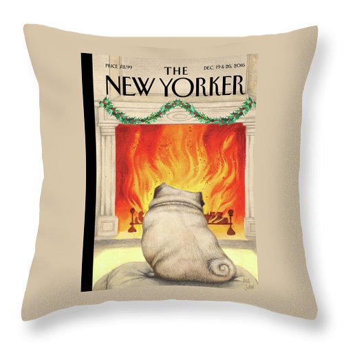 Pug Throw Pillow featuring the painting Yule Dog by Ana Juan