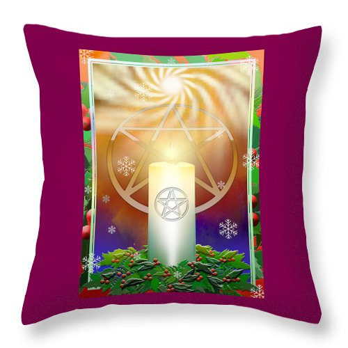 Yule Throw Pillow featuring the digital art Yule Sun by Melissa A Benson
