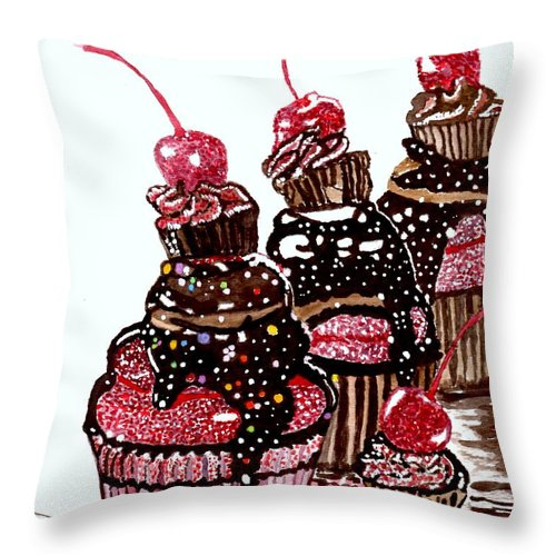 Cupcake Paintings Throw Pillow featuring the painting Yum Candy Cupcake by Connie Valasco