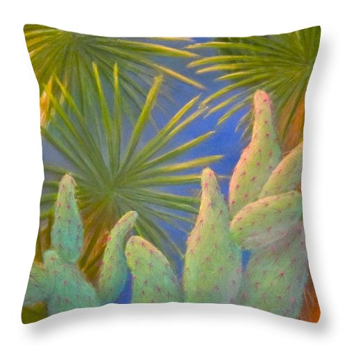 Lynn Morgan Throw Pillow featuring the pastel Yuma Conservation Garden by Lynn Morgan -              L L Morgan Art