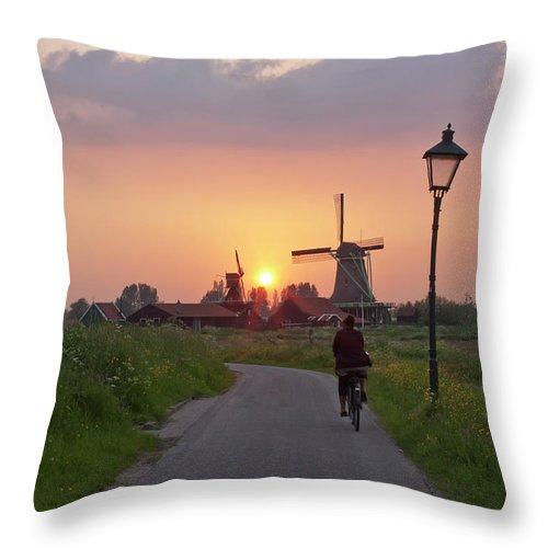 North Holland Throw Pillow featuring the photograph Zaanse Schans Windmills by Ivan