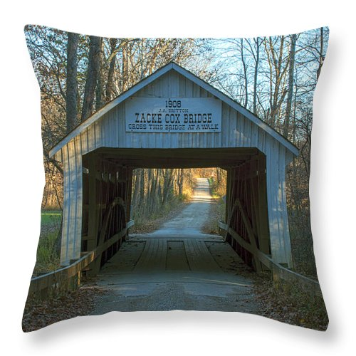 Parke County Indiana Photographs Throw Pillow featuring the photograph Zacke Cox Covered Bridge by Thomas Sellberg