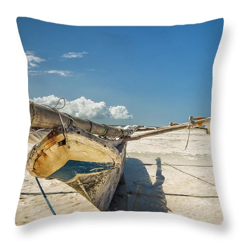 3scape Photos Throw Pillow featuring the photograph Zanzibar Outrigger by Adam Romanowicz