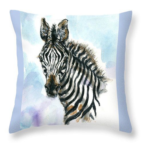 Mary Ogden Armstrong Throw Pillow featuring the painting Zebra 1 by Mary Armstrong