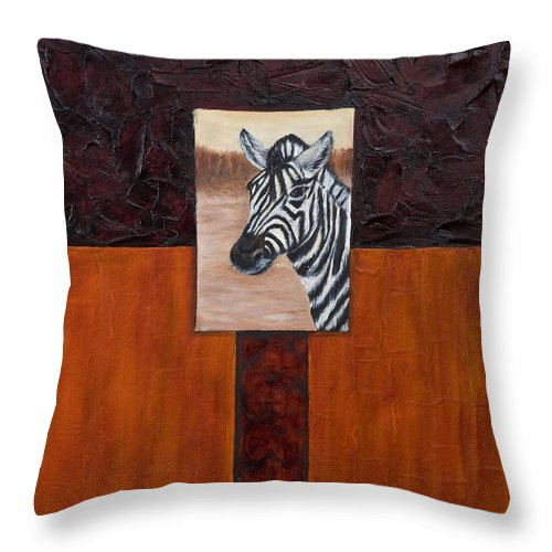 Animal Throw Pillow featuring the painting Zebra by Darice Machel McGuire