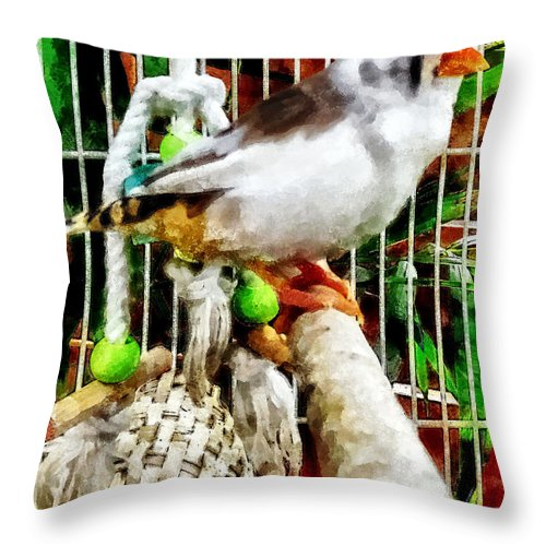 Finch Throw Pillow featuring the photograph Zebra Finch by Susan Savad