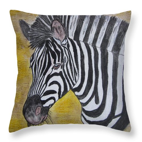 Zebra Throw Pillow featuring the painting Zebra Portrait by Kathy Marrs Chandler