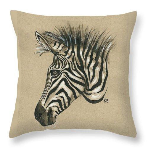 Zebra Throw Pillow featuring the painting Zebra Profile by Konni Jensen