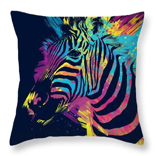 Zebra Throw Pillow featuring the digital art Zebra Splatters by Olga Shvartsur