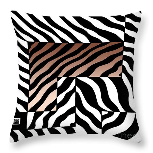 Graphic Image Throw Pillow featuring the drawing Zebra Squares by Joseph J Stevens