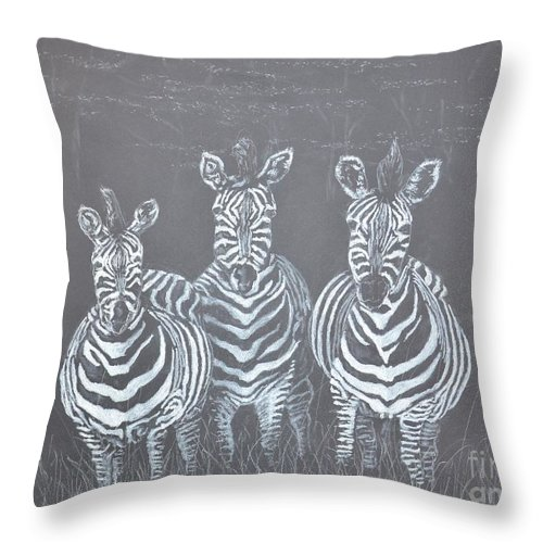 Zebra Throw Pillow featuring the drawing Zebra Zebra Zebra by David Swope
