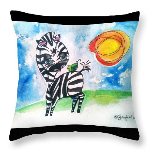 Zebra Throw Pillow featuring the mixed media Zebra Zee by Shelley Overton