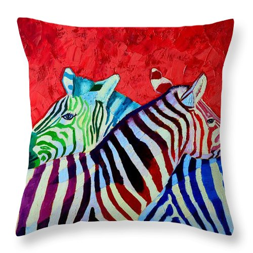 Zebra Throw Pillow featuring the painting Zebras In Love by Ana Maria Edulescu