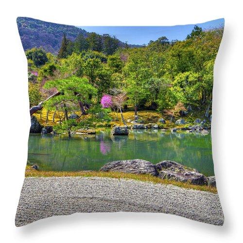 Asia Throw Pillow featuring the photograph Zen And A Pond by Matt Swinden