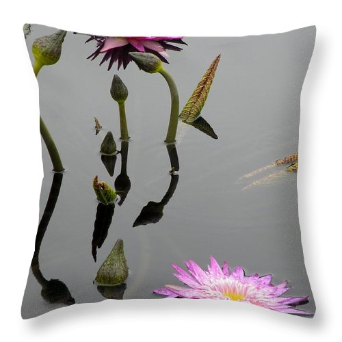 Pink Lilies Throw Pillow featuring the photograph Zen Lilies by Kim Bemis