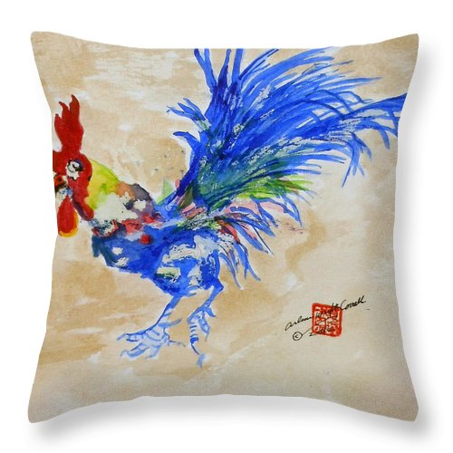 Roosters Throw Pillow featuring the painting Zen Rooster by Arlene Wright-Correll
