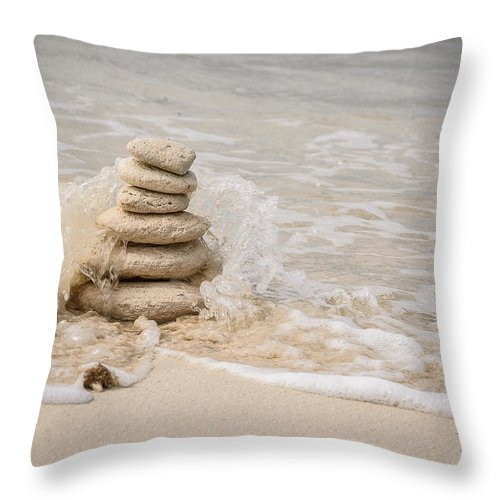 Stone Stack Throw Pillow featuring the photograph Zen Stones by Mark Robert Rogers
