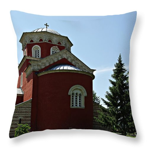 Antique Throw Pillow featuring the photograph Zica Monastery by Zoran Berdjan