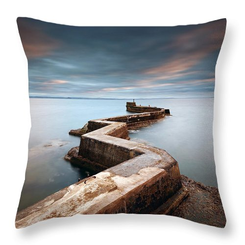 Architecture Throw Pillow featuring the photograph Zig-zag Pier by Grant Glendinning