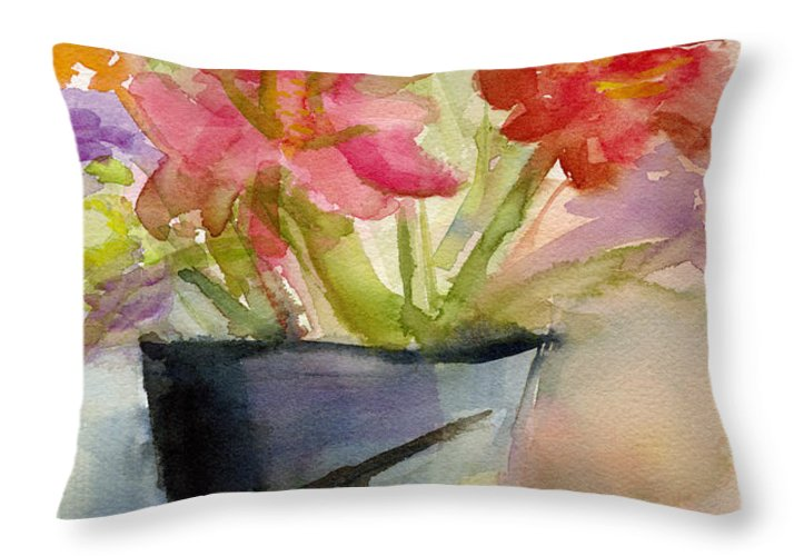 Floral Throw Pillow featuring the painting Zinnias In A Vase Watercolor Paintings Of Flowers by Beverly Brown