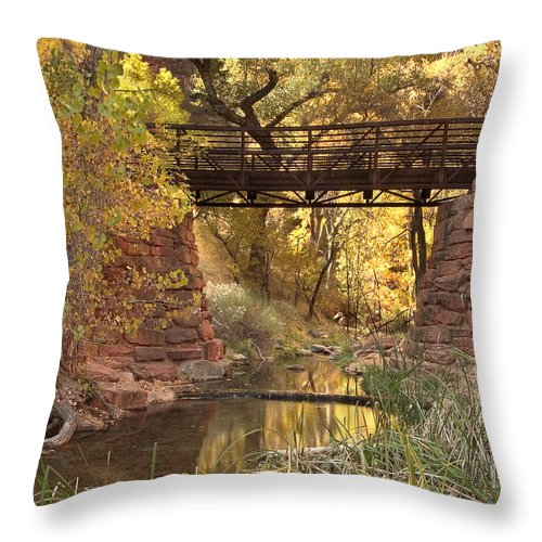 3scape Throw Pillow featuring the photograph Zion Bridge by Adam Romanowicz