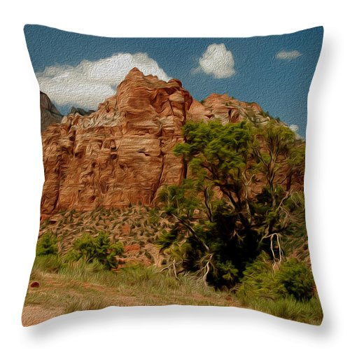 Zion National Park Throw Pillow featuring the photograph Zion National Park by Tracy Winter