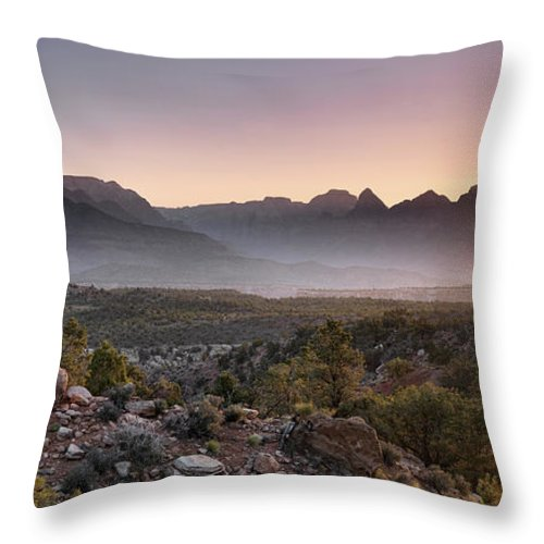 Colorful Throw Pillow featuring the photograph Zion Sunrise by Leland D Howard