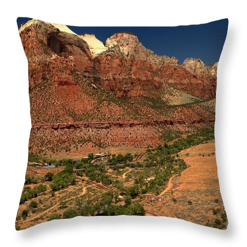 Zion National Park Throw Pillow featuring the photograph Zion White Caps by Adam Jewell