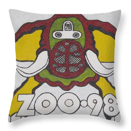 Elephant Pictures Throw Pillow featuring the painting 98 Kzew Radio Logo by Donna Wilson