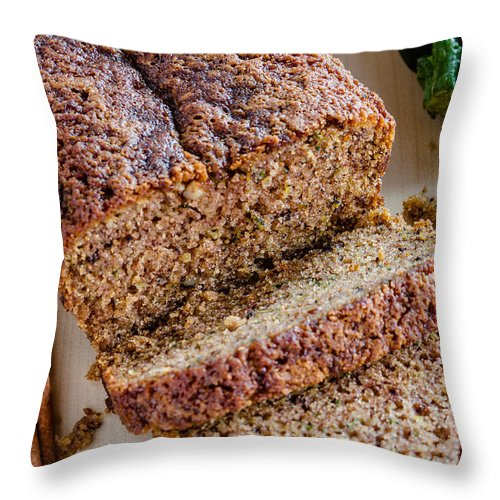 Agave Nectar Throw Pillow featuring the photograph Zucchini And Cinnamon Bread by Teri Virbickis