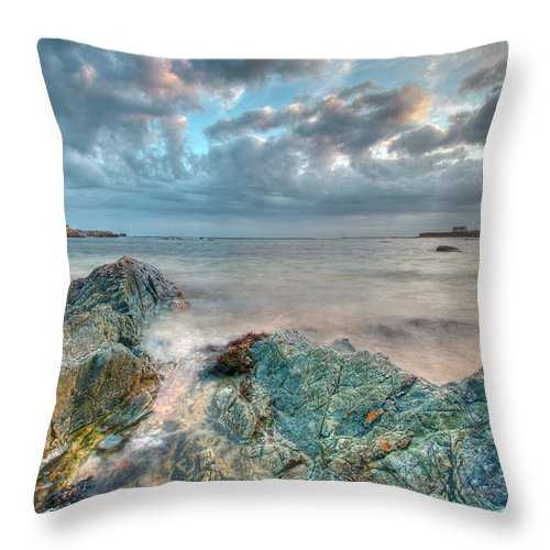 Blue Schist Throw Pillow featuring the photograph Blue Aberffraw by Beverly Cash
