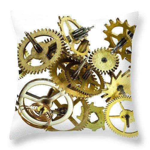 Cogwheel Throw Pillow featuring the photograph Clockwork Mechanism by Michal Boubin