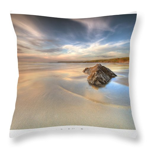 Wales Throw Pillow featuring the photograph Dusk On The Beach by Beverly Cash