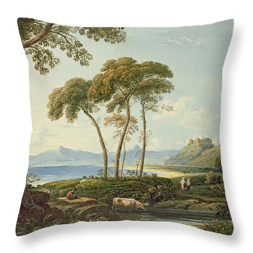 Landscape With Harlech Castle Throw Pillow featuring the painting Landscape With Harlech Castle by John Varley
