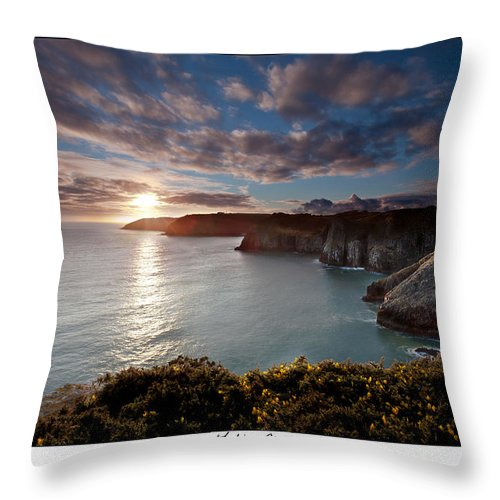 Seascape Throw Pillow featuring the photograph Lydstep Cliffs Sunset by Beverly Cash
