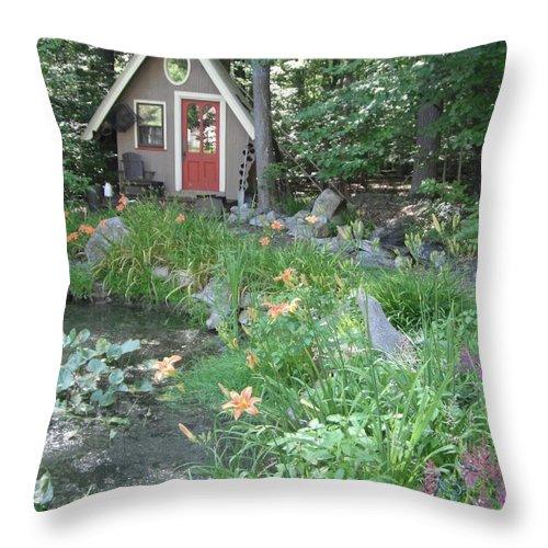 Garden Throw Pillow featuring the photograph Magic Garden Pond by Susan Carella